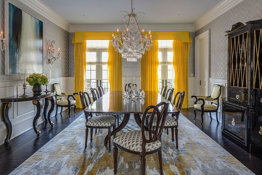 Bright Yellow Drapes Make A Bold Statement In The All Gray Dining Room