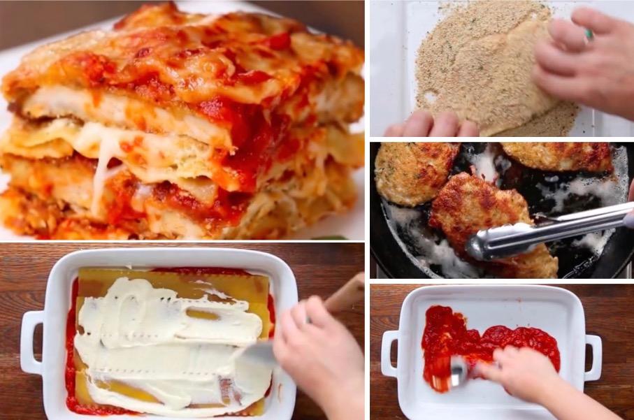 les lasagnes au parmesan et au poulet pan la recette. Black Bedroom Furniture Sets. Home Design Ideas
