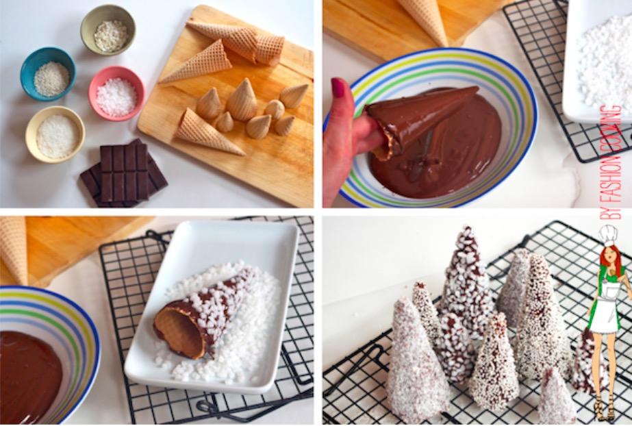 Les jolis sapins de no l au chocolat pour d corer la table des f tes la recette - Decoration buche de noel comestible ...