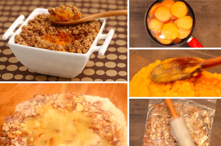 un crumble de patates douces aux noix pour un dessert original la recette. Black Bedroom Furniture Sets. Home Design Ideas