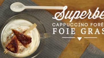 Capuccino de champignons au foie gras poêlé