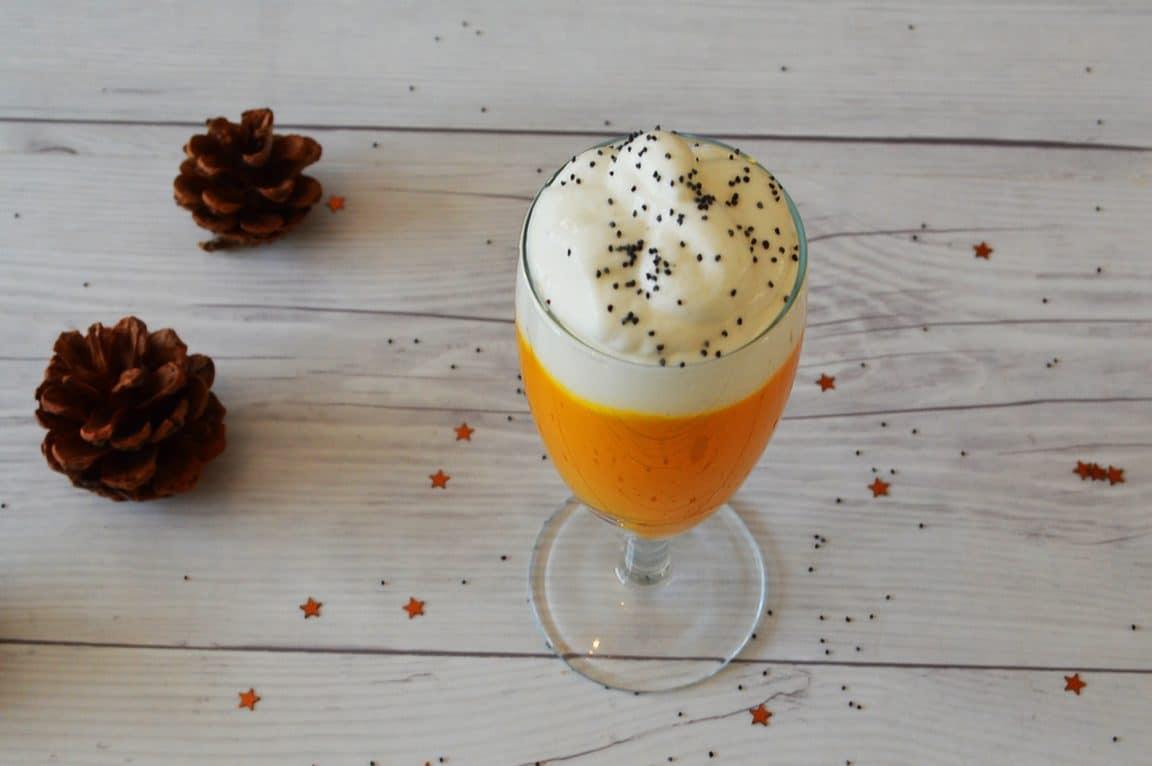 cappuccino de potimarron et céleri au pavo