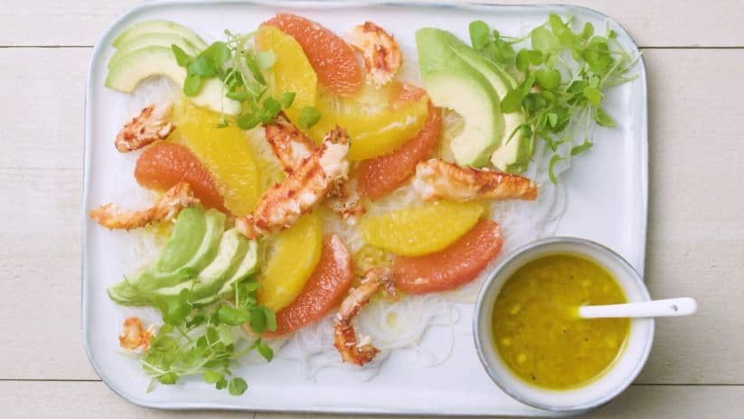 salade d'agrumes, avocat et chair de crabe
