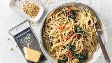 spaghettis pimentés à l'huile de chanvre