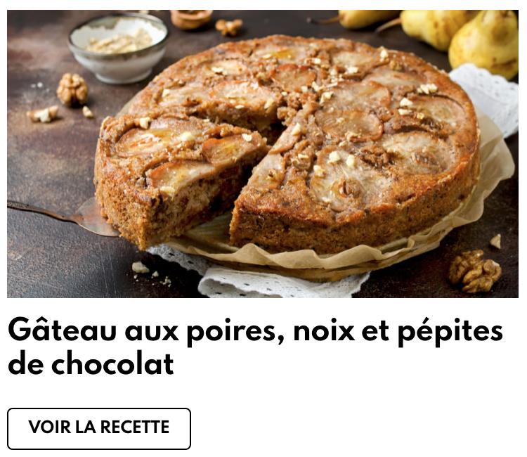 Gâteau aux poires, noix et pépites de chocolat