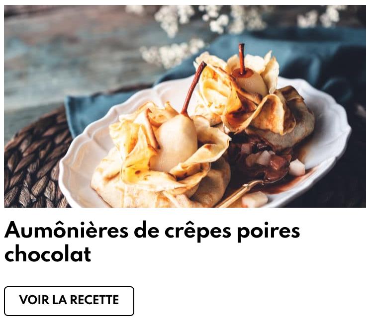 Aumonières de crêpes poires chocolat