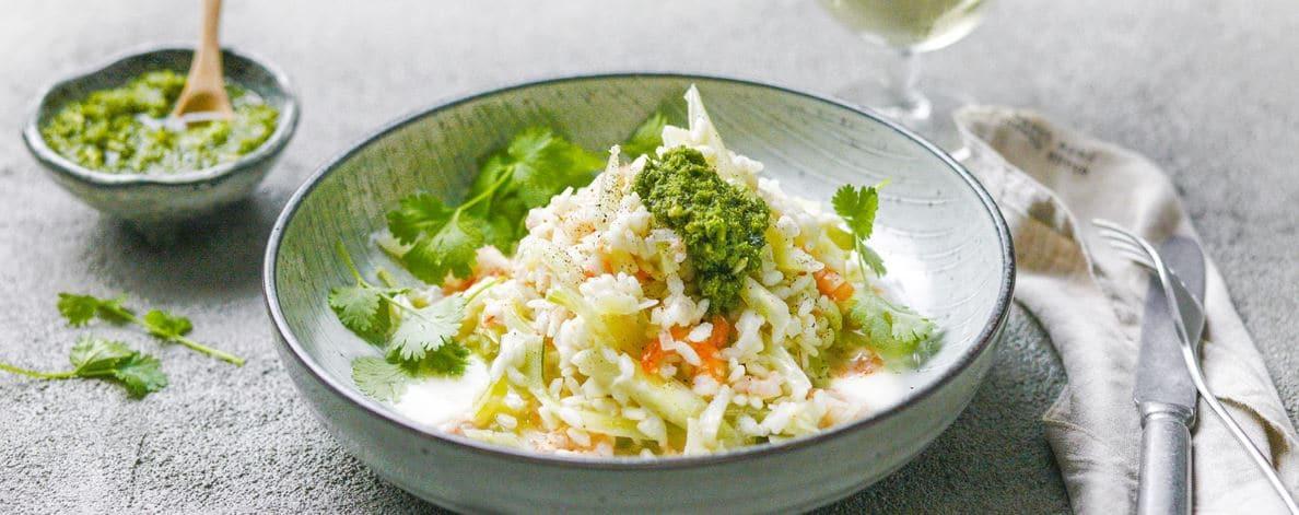 Risotto crémeux aux crevettes, fenouil et lait de coco