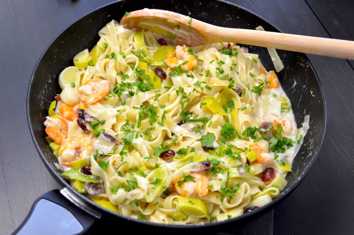 One pot pasta aux crevettes et cranberries