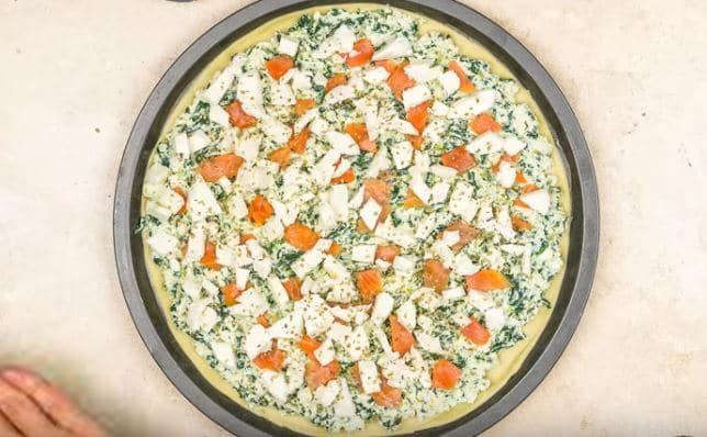 pizza saumon épinard