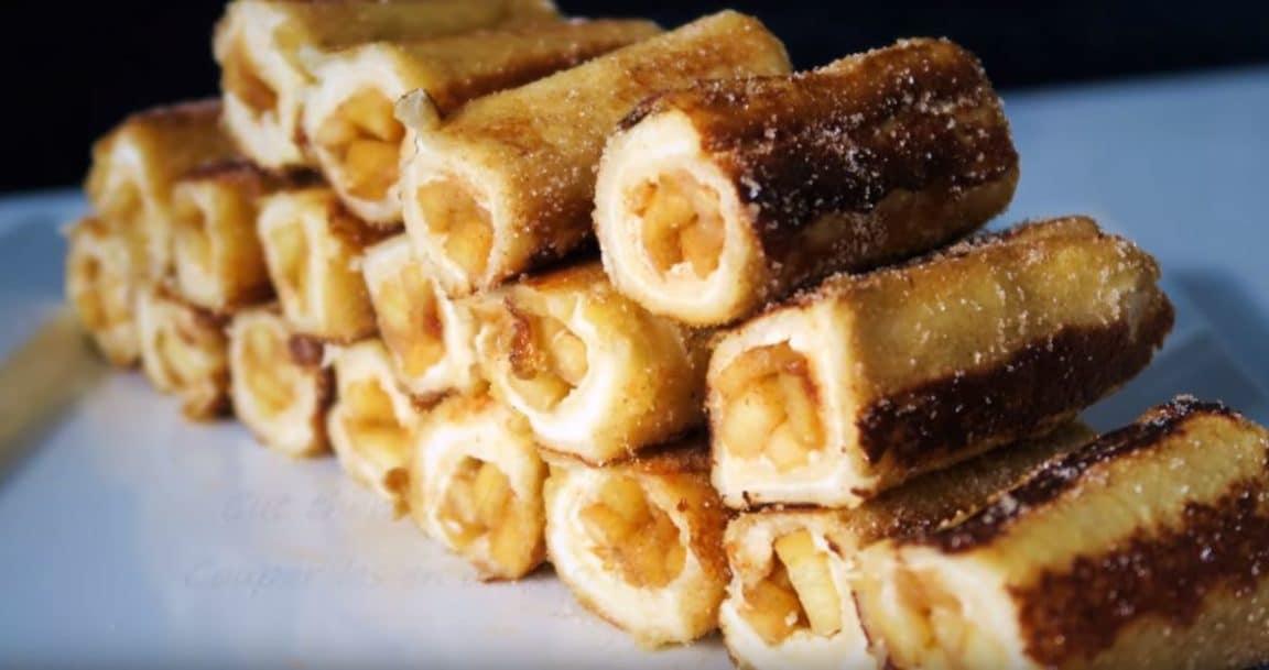 roulés à la vanille, pommes et cannelle facon pain perdue