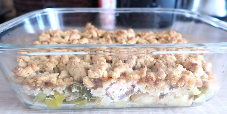 Crumble salé saumon & poireaux
