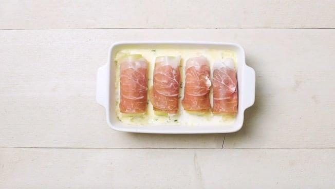 Roulades de jambon cru aux poireaux et fromage de chèvre