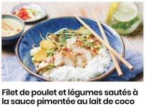 Filet de poulet et légumes sautés à la sauce pimentée au lait de coco