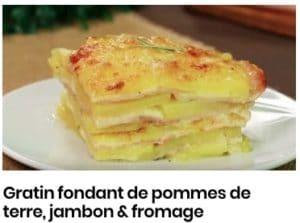 Gratin fondant de pommes de terre, jambon & fromage