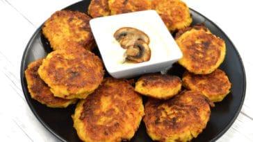 Galettes de pommes de terre - sauce champignons et fromage