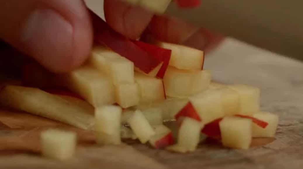 nectarine mozzarella à l'écume de roquette