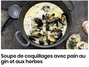 Soupe de coquillages avec pain au gin et aux herbes