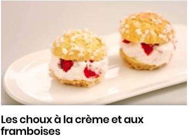 Les choux à la crème et aux framboises