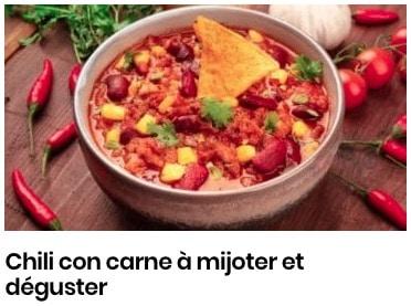 Chili con carne à mijoter et déguster