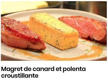 Magret de canard et polenta croustillante