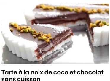 Tarte à la noix de coco et chocolat sans cuisson