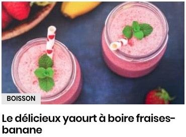 yaourt à boire fraises bananes