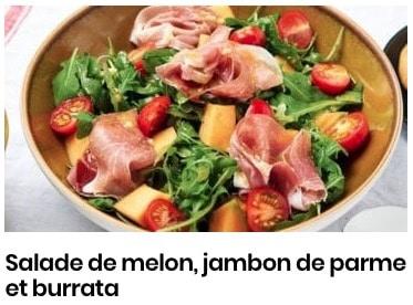 salade jambon, burrata, melon