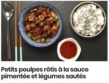 Petits poulpes rôtis à la sauce pimentée et légumes sautés