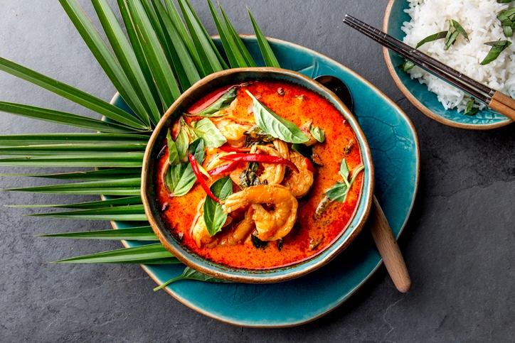 curry rouge aux crevettes