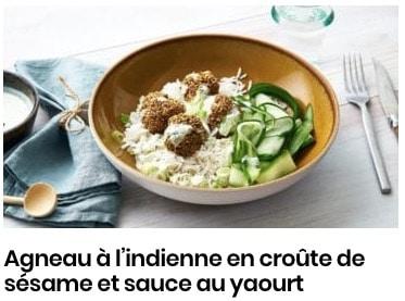 agneau en croûte de sésame et sauce yaourt