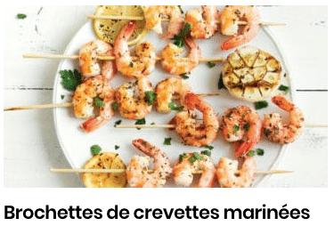 brochettes de crevettes marinees