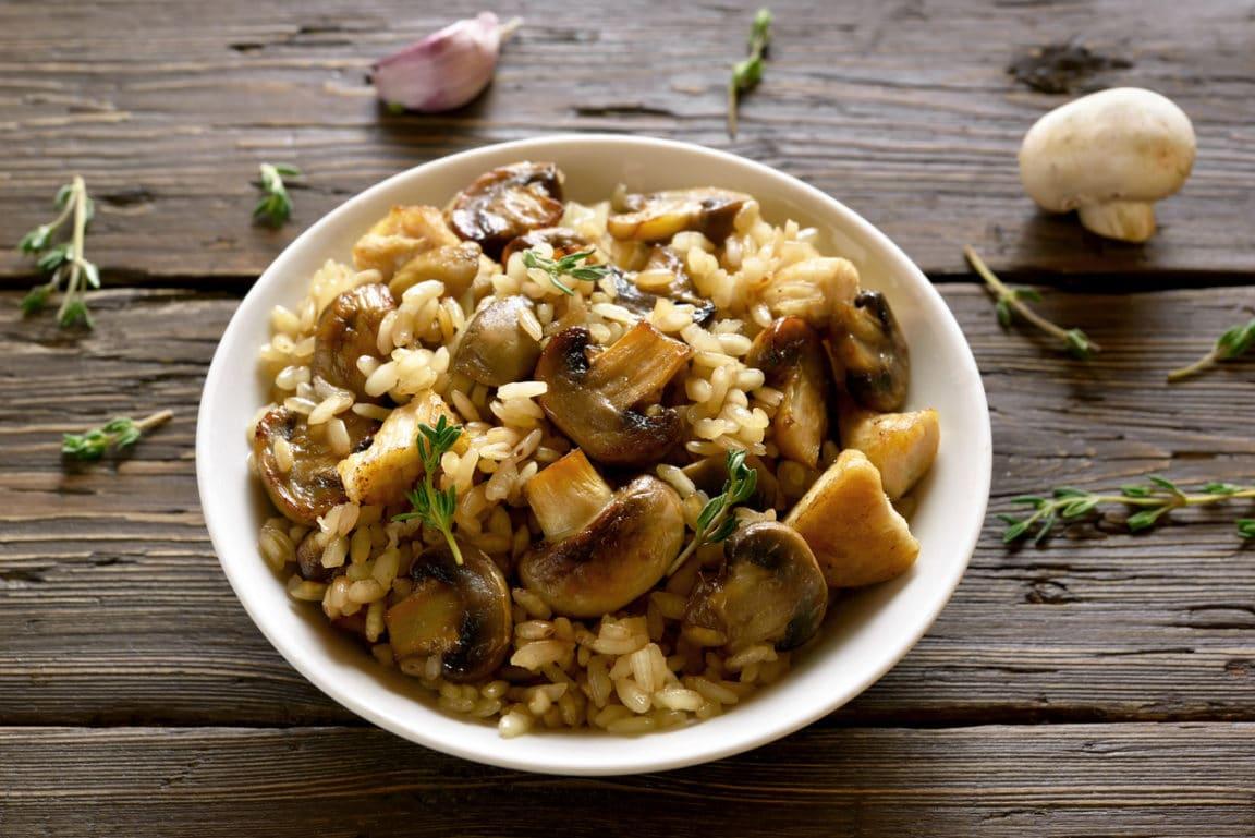 risotto de champignons au vin blanc