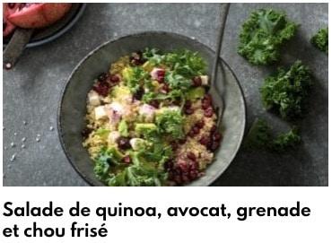 salade chou frisé, quinoa, avocat, grenade