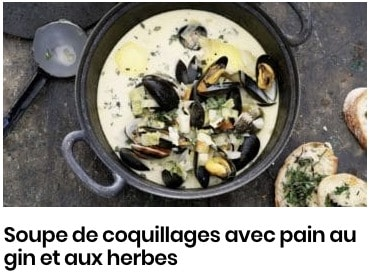 soupe coquillage pain aux herbes