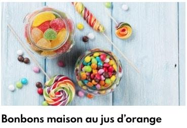 bonbons maison au jus d'orange