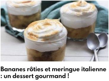bananes rôties et meringue italienne