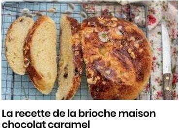 recette brioche caramel pépites chocolat