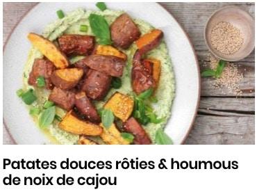 patates douces et houmous de noix de cajou