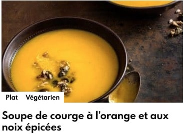 soupe de courge à l'orange et noix épicé