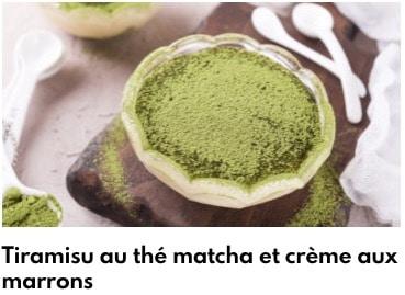 tiramisu au thé matcha et crème de marrons