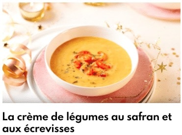 crème de légumes au safran et écrevisses