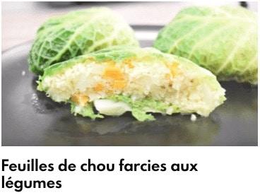 feuilles de choux farcies aux légumes
