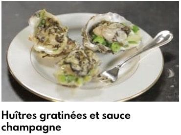 huîtres gratinées et sauce champagne