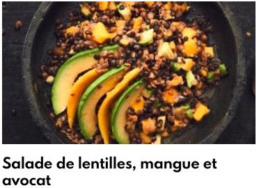 salade mangue lentilles