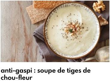 soupe anti gaspillage tiges de chou fleur