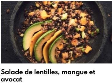 salade lentilles mangue