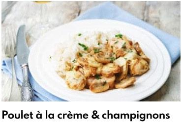 poulet à la crème et champignons