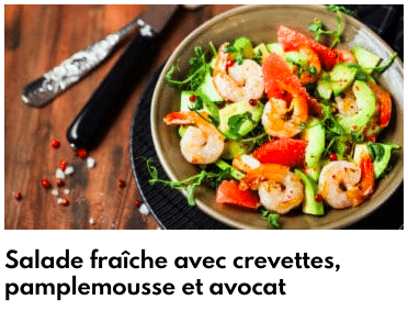 salade fraiche avocat pamplemousse crevettes