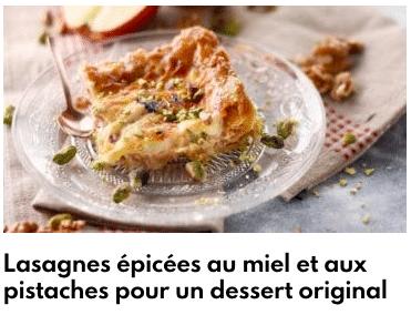 lasagnes miel pistache
