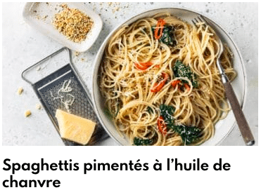 spaghettis à l'huile de chanvre
